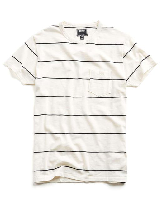 Todd Snyder | White Wide Stripe Classic Button Pocket Tee In Ecru for Men | Lyst