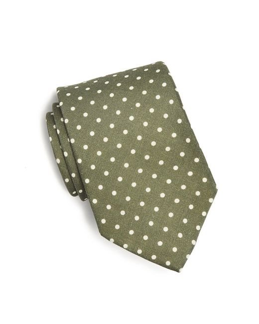 Drake's - Green Printed Silk Dot Tie In Olive for Men - Lyst
