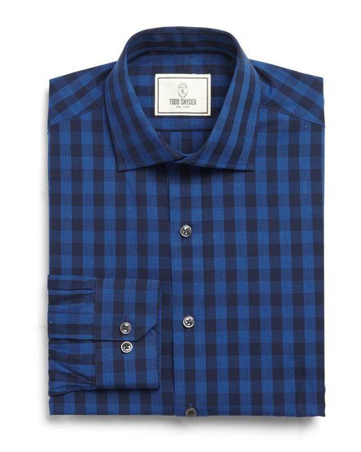 Todd Snyder   Blue Spread Collar Dress Shirt In Navy Plaid for Men   Lyst