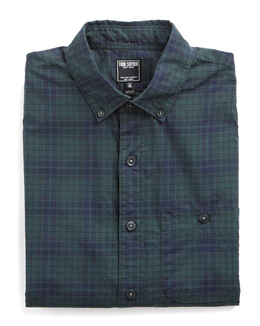 Todd Snyder Button Down Collar Shirt In Green Plaid In