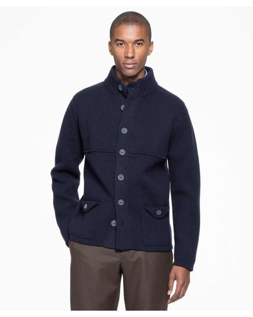 Inis meáin Wool Storm Jacket Button Cardigan In Navy in ...