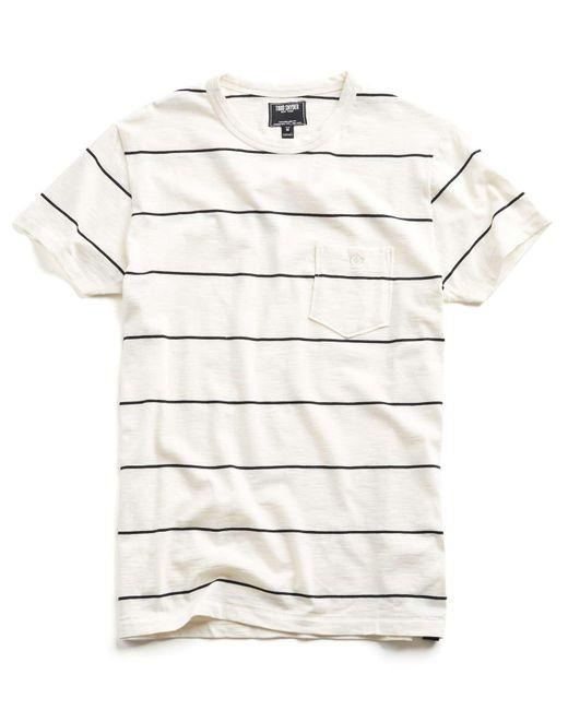 Todd Snyder | White Wide Stripe Classic Button Pocket Tee In Ecru for Men | Lyst