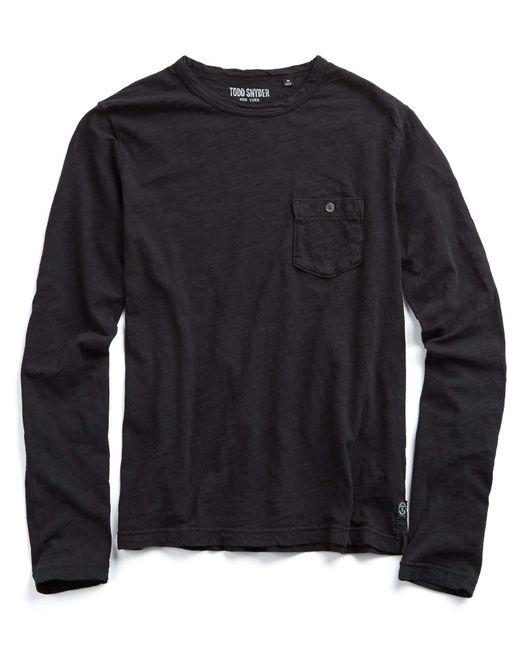 Todd Snyder | Garment Dyed Long Sleeve Pocket Tee In Jet Black for Men | Lyst