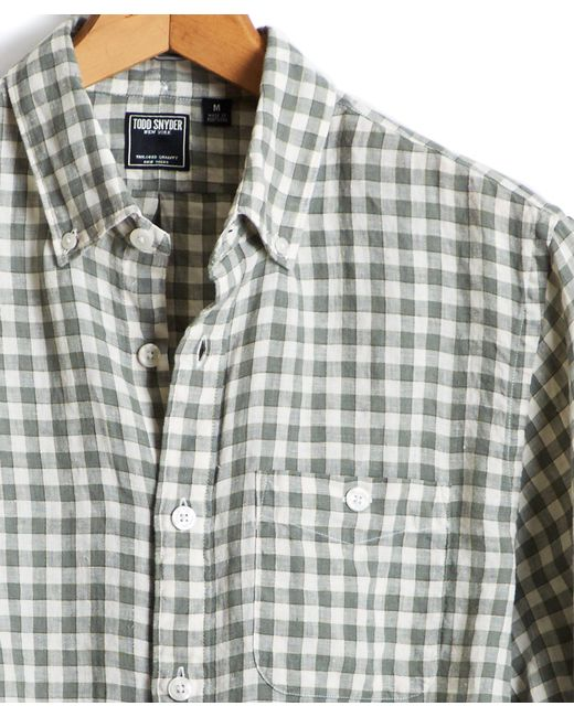 Todd Snyder - Button Down Linen Shirt In Green And Cream Check for Men - Lyst