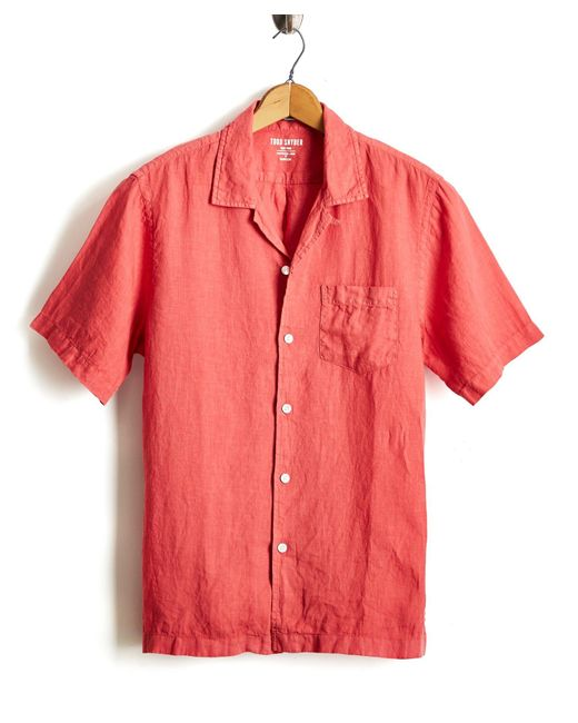 Todd Snyder - Short Sleeve Camp Collar Linen Shirt In Nantucket Red for Men - Lyst