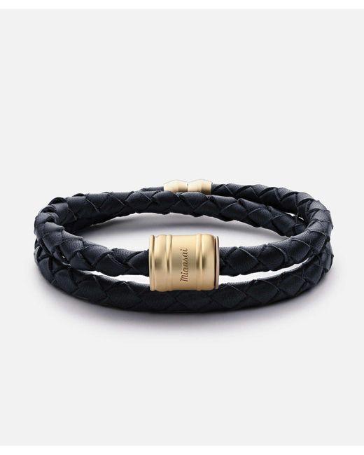 Miansai | Blue Leather Matte Gold Casing Bracelet | Lyst