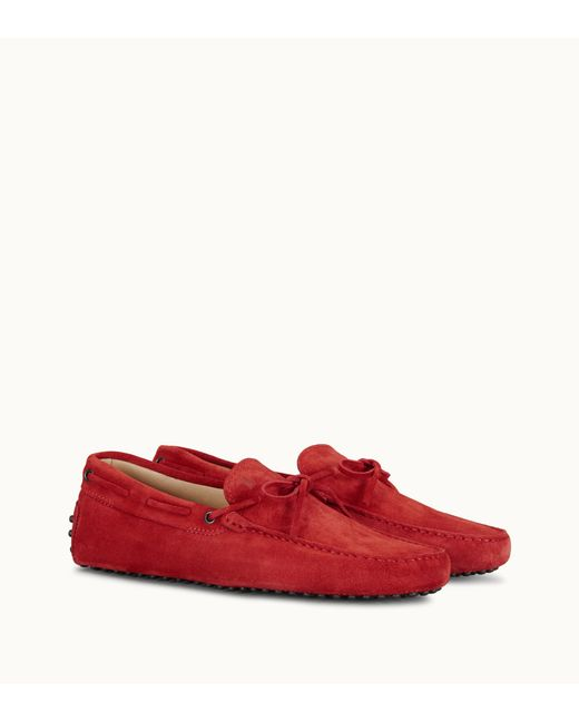 8494a22e749 Lyst - Tod s Red Suede Tie Detail Driving Loafers in Red for Men ...