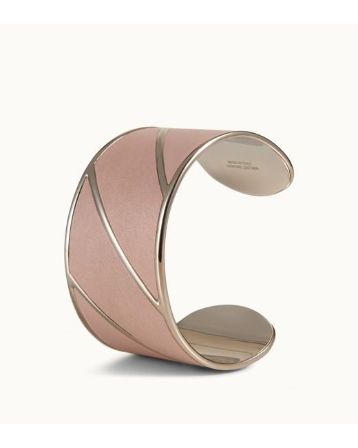 Tod's - Pink Cuff In Metal And Leather - Lyst