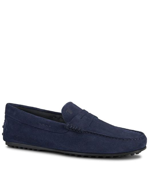 Tod's - Blue City Gommino Suede Loafers for Men - Lyst