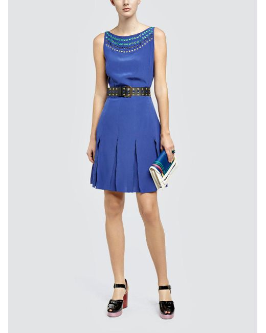Tomas Maier - Blue Crepe De Chine Dress - Lyst