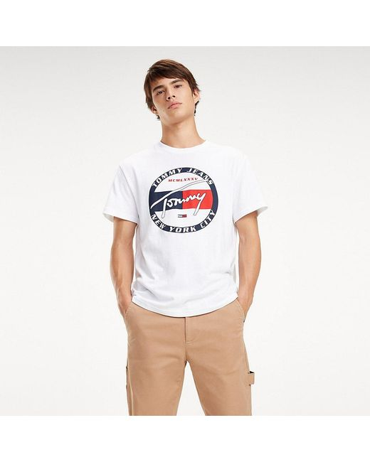 e9292daa Tommy Hilfiger - White Circle Logo Organic Cotton T-shirt for Men - Lyst ...