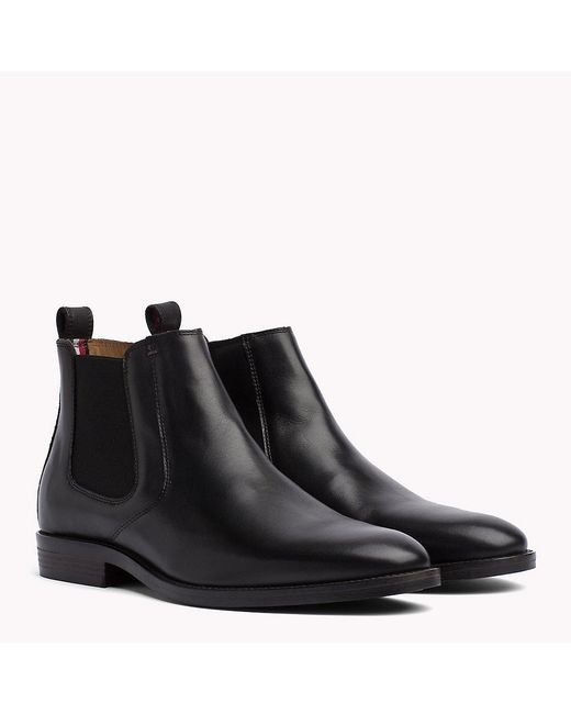 Tommy Hilfiger - Black Leather Chelsea Boots - Lyst
