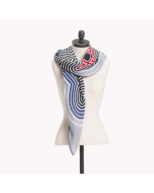 Tommy Hilfiger - Blue Abstract Stripe Scarf - Lyst
