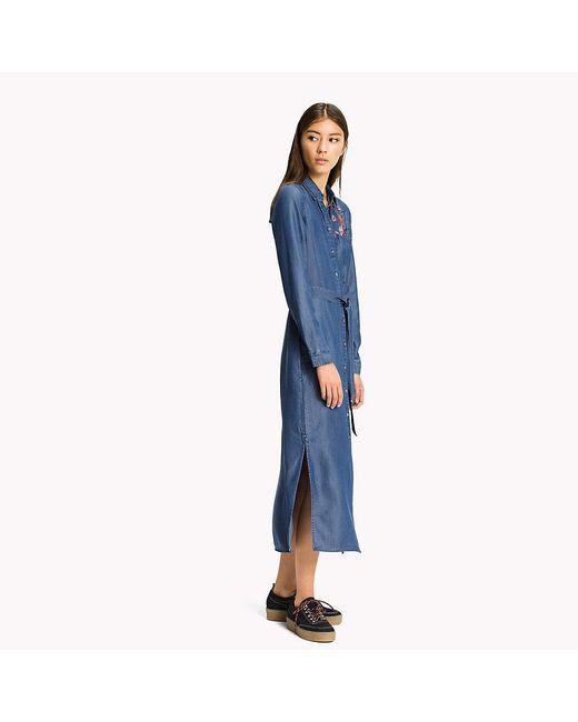 Tommy Hilfiger | Blue Tencel Shirt Dress | Lyst