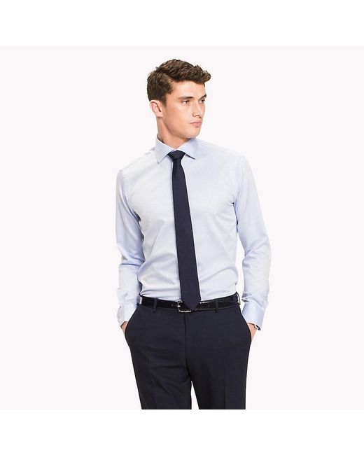 Tommy Hilfiger - Blue Pure Cotton Fitted Shirt for Men - Lyst