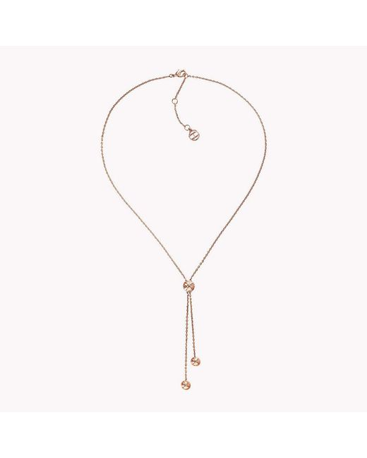 Tommy Hilfiger - Pink Y-neck Beaded Necklace - Lyst