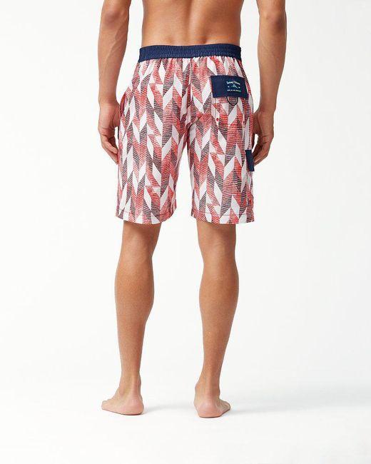 8d9c3ea2b6 ... Tommy Bahama - Red Baja Geo Celeste 9-inch Board Shorts for Men - Lyst  ...