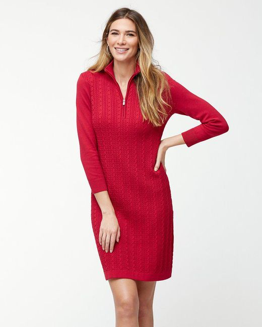 Tommy Bahama Pickford Cable Half Zip Dress In Red Lyst