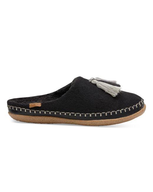 TOMS | Black Wool Tassel Women's Ivy Slippers | Lyst