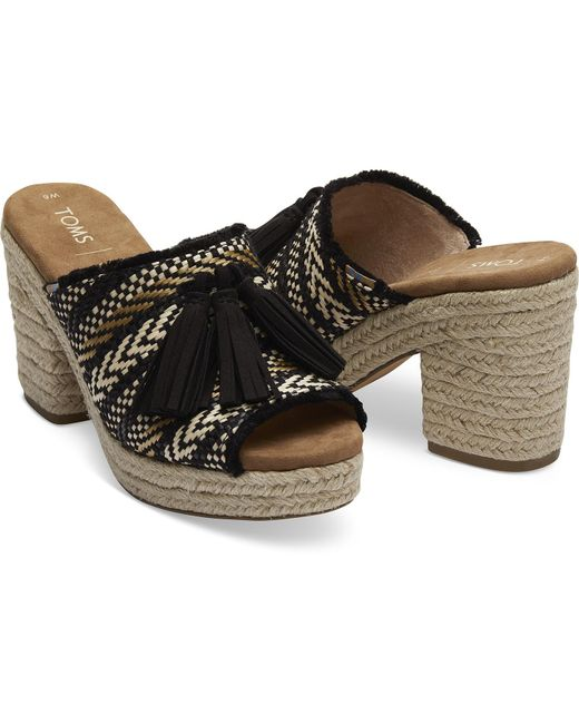 c85e293d094d ... TOMS - Black Geometric Woven With Tassel Women s Junie Wedged Sandals -  Lyst