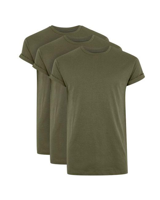 Topman - Green Khaki Muscle Fit Roller T-shirt 3 Pack for Men - Lyst
