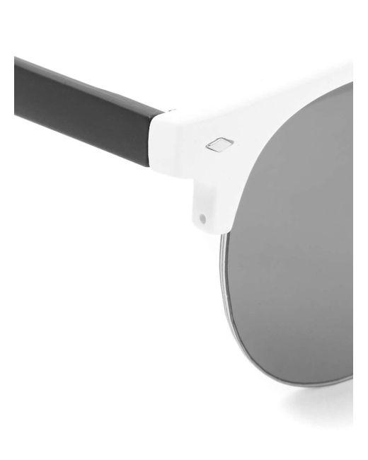 White Half Frame Glasses : Topman White Plastic Half Frame Sunglasses in Black for ...