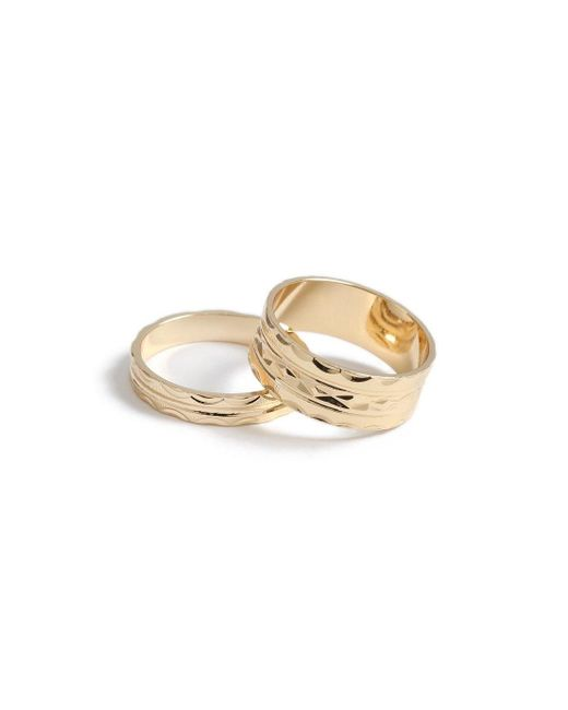 Topman - Metallic Gold Ring Pack for Men - Lyst