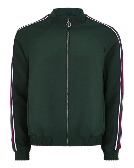 Topman - Green Zip Through Smart Track Top With Taping for Men - Lyst