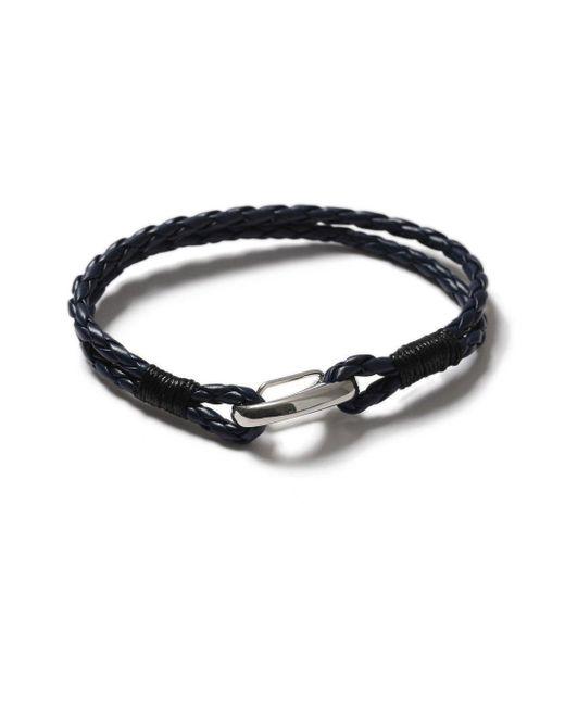 Topman - Blue Navy Leather Bracelet for Men - Lyst