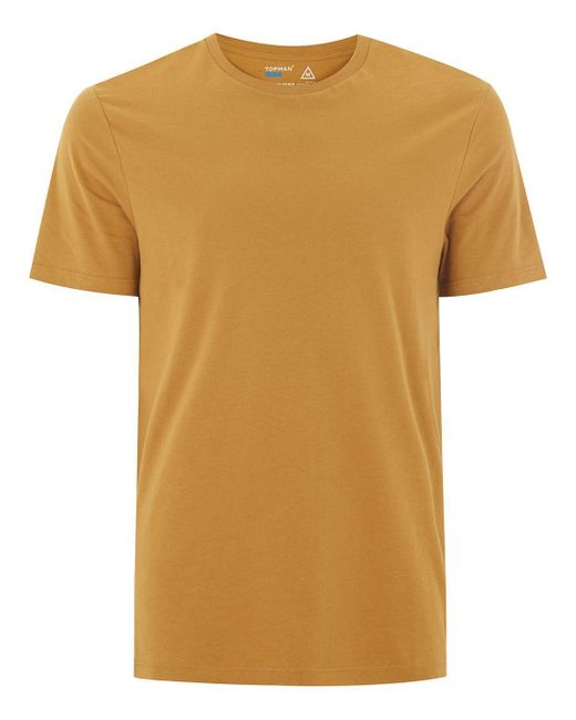 topman mustard slim t shirt in yellow for men lyst. Black Bedroom Furniture Sets. Home Design Ideas