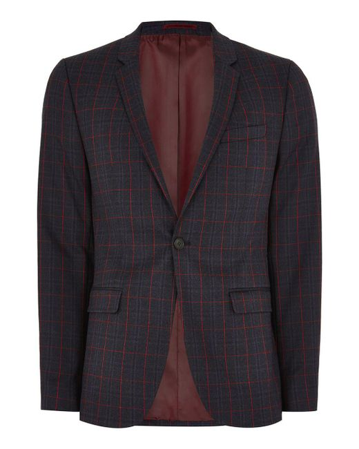 Topman - Blue Navy And Red Check Ultra Skinny Suit Jacket for Men - Lyst