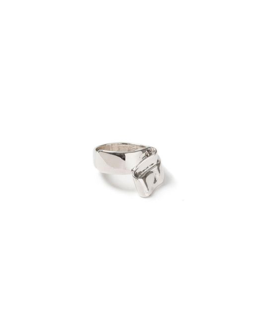 Topman | Metallic Silver Sculpted Ring for Men | Lyst
