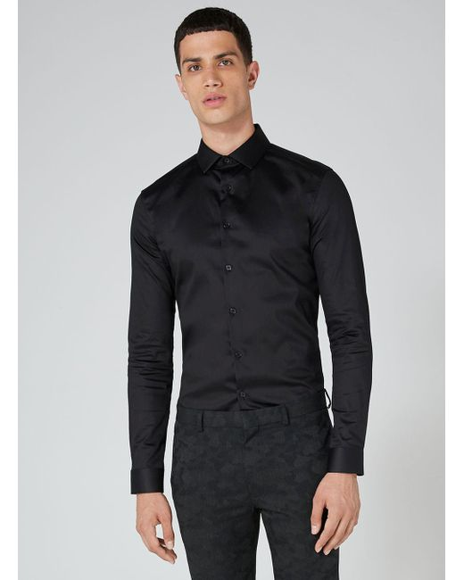 Topman - Black Satin Muscle Fit Long Sleeve Shirt for Men - Lyst