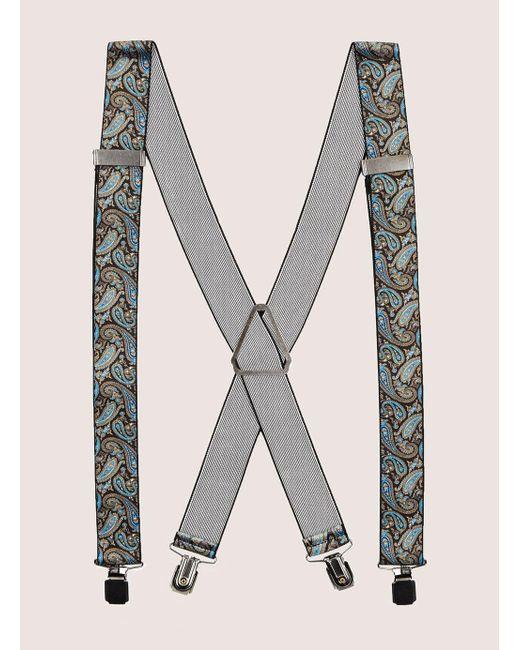 Topman - Black And Blue Paisley Suspender for Men - Lyst