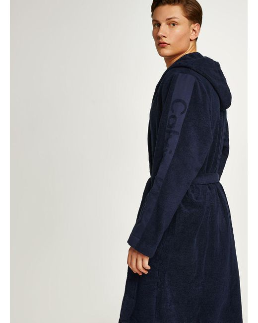 Topman Calvin Klein Navy Cotton Dressing Gown in Blue for Men - Lyst