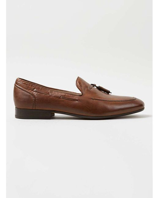 Topman | Brown Hudson Tan Leather Tassel Loafers for Men | Lyst