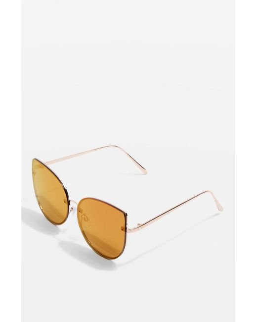 TOPSHOP - Red Rimless Kitty Sunglasses - Lyst