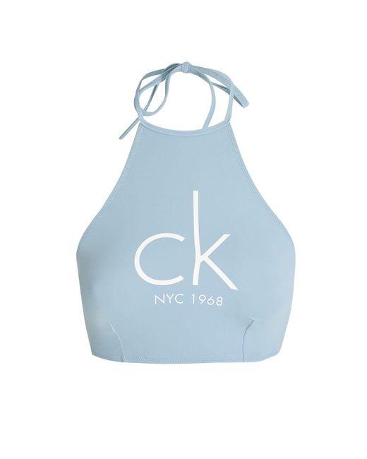 Calvin Klein | Blue High Neck Bikini Crop Top By | Lyst