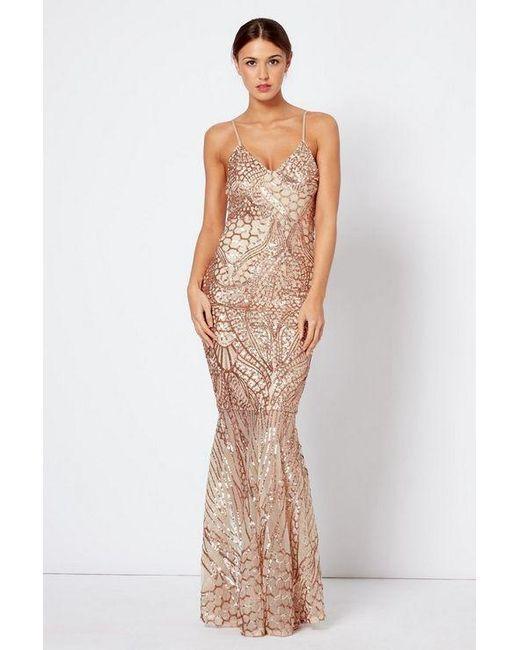 1d6b02898ff6 Club L - Metallic sequin Fishtail Maxi Dress By - Lyst ...