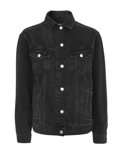 TOPSHOP | Black Moto Seam Oversized Jacket | Lyst