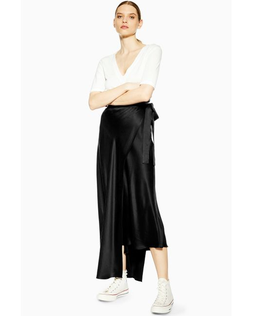 TOPSHOP - Black double Layer Silk Skirt By Boutique - Lyst