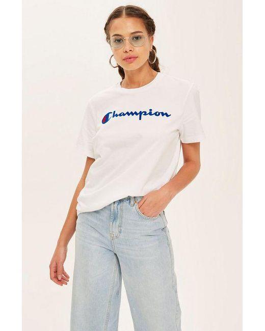 91b612d6 Champion - White Script Logo T-shirt By - Lyst ...