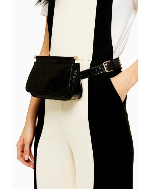 TOPSHOP Bonnie Black Crocodile Belt Bag In Black