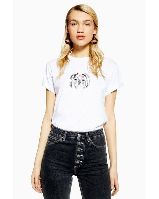6aa221210b9 TOPSHOP - White Shih Tzu T-shirt - Lyst ...