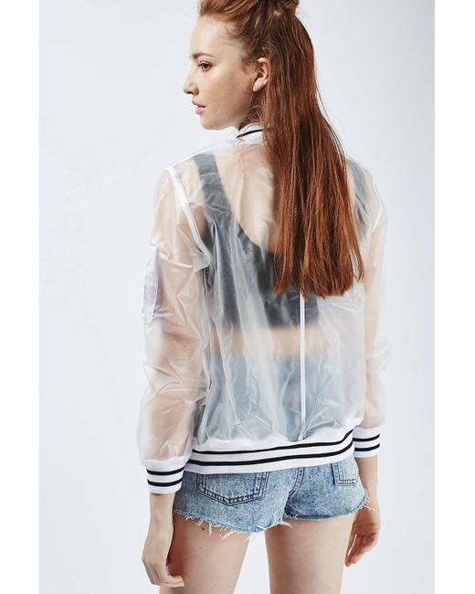Topshop See Through Plastic Bomber Jacket In Multicolor Lyst