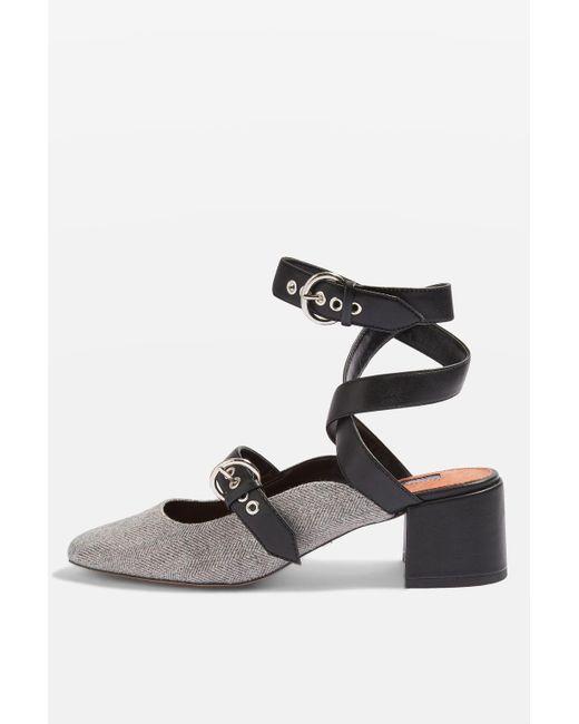 TOPSHOP | Gray Jude Mid Heel Court Shoes | Lyst