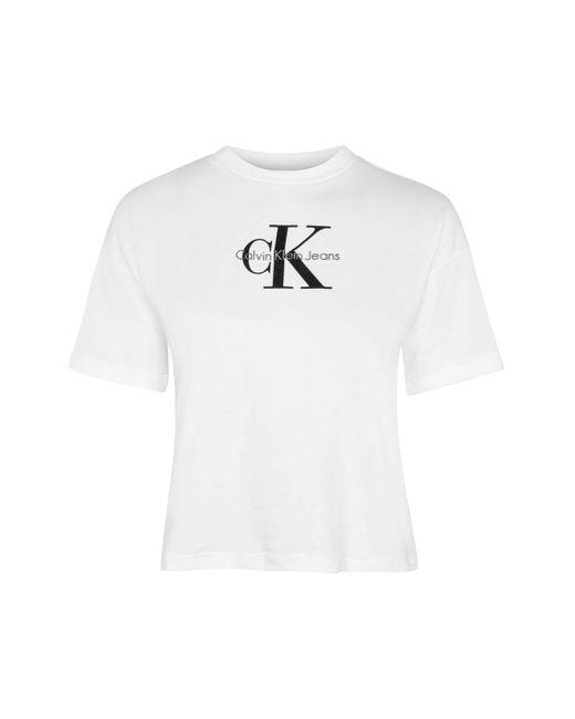 Calvin Klein | White Crop Logo T-shirt | Lyst