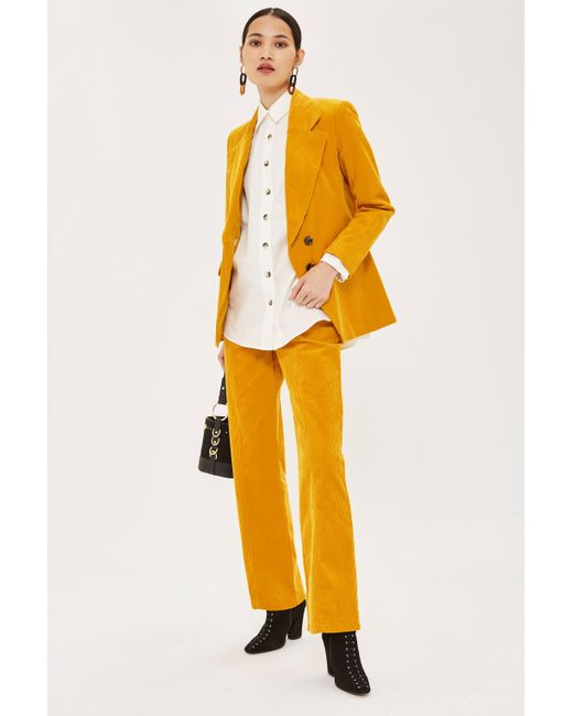 TOPSHOP - Yellow Corduroy Trousers - Lyst