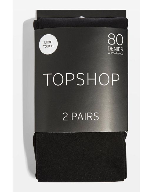 TOPSHOP - Black Pack Of Two 80 Denier Tights - Lyst