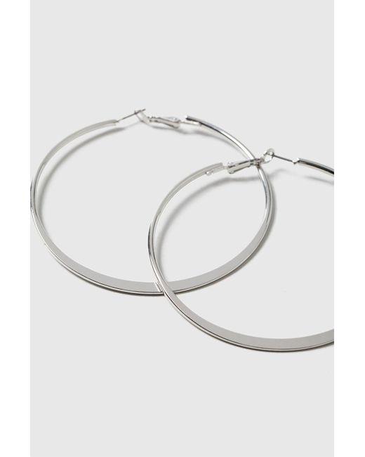 TOPSHOP - Metallic Flat Hoop Earrings - Lyst